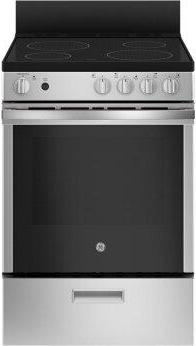 """GE™ 24"""" Free-Standing/Slide-in Front Control Range with Steam Clean and Large Window"""