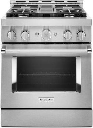 KitchenAid™ 30'' Smart Commercial-Style Gas Range with 4 Burners - Heritage Stainless Steel