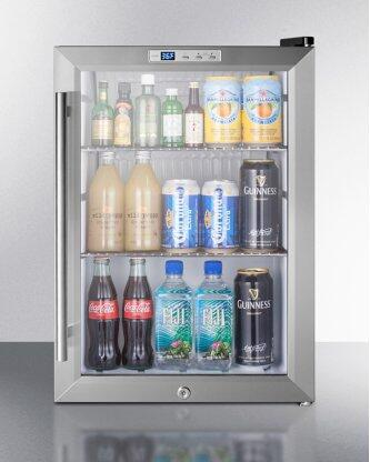 Commercially Approved Countertop Glass Door Refrigerator Designed for the Display and Refrigeration of Beverages or Sealed Food, With Black Cabinet, Front Lock, and Digital Thermostat; Replaces Scr310l