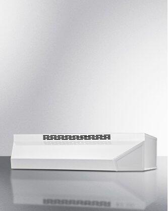 24 Inch Wide ADA Compliant Ductless Range Hood In White Finish With Remote Wall Switch