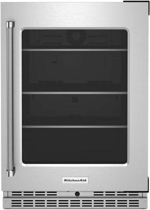 """24"""" Undercounter Refrigerator with Glass Door and Shelves with Metallic Accents - Stainless Steel"""